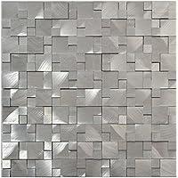 Azulejos de mosaico en 3D de aluminio, color plateado