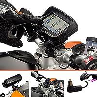 Ultimate Addons Moto e 19-35mm supporto per manubrio bici con supporto per TomTom Rider v5 10,92 cm con 2 Amp Din Hella cavo