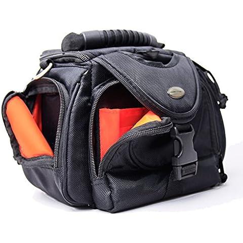 Maxampere Borsa / Custodia per macchina fotografica / fotocamera per Nikon, Samsung, Sony e altri, nero-arancione