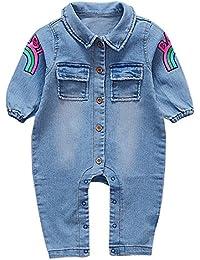 Bebé Impresión del arco iris Denim ropa,Yannerr Recién nacido niña niño primavera vaqueros tejana bordada manga larga top mono abrigada abrigo traje