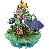 Santoro Postal animada con figuras en 3D, diseño de fondo marino