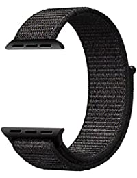 House of Quirk Unisex Iwatch Replacement Breathable Woven Nylon Sport Loop Band - (Black, 42mm)