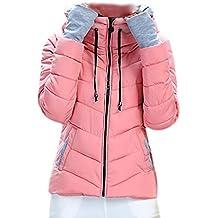 SODIAL (R) caliente de invierno nuevas mujeres coreanas adelgazan acolchada gruesa chaqueta acolchada abrigo Rosa - XL