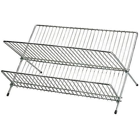 IKEA-Scolapiatti pieghevole in acciaio galvanizzato e cromato per piatto, misura grande, Scolapiatti pieghevole