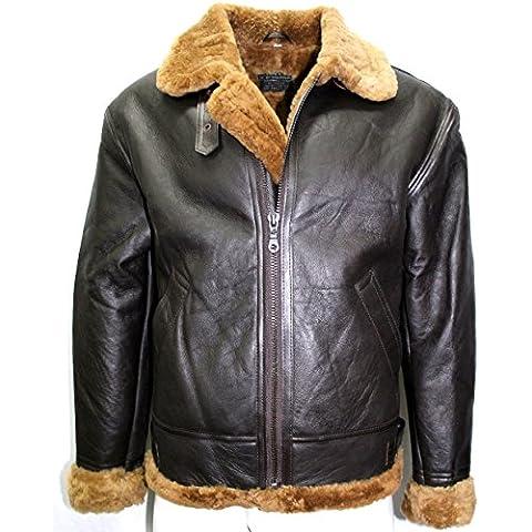 verdadera piel de oveja de jengibre ww2 chaqueta de cuero de la piel del hombre bombardero marrón B3