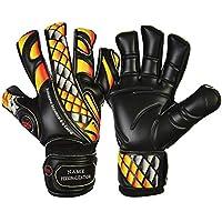 GK Saver Calcio Guanti Da Portiere Prime Fire Nero Taglio Flat Finger Save dimensioni 6,7,8,9,10,11, NO Finger Protection YES personalization, Dimensione 8 - Piatto Keepers