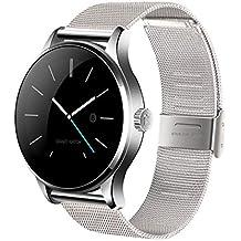 Efanr k88h Bluetooth Smart reloj con banda de acero inoxidable, reloj de pulsera Smartwatch podómetro Monitor de frecuencia cardiaca redondo IPS pantalla para Android Samsung IOS iPhone X 8Plus hombres mujeres, color plata