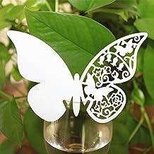 50pcs Tarjeta de Copa Lugar Forma Mariposa Decoración para Fiesta Boda