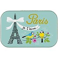 Piccola scatola qualsiasi Paris Je T 'Aime decorativa in metallo blu, verde, Derrière la porte - Piccole Scatole Decorative