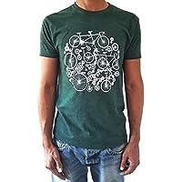 Camiseta de hombre Bicicletas - Color Verde botella Heather - Talla M - Tacto Suave - Regalo para hombre - Cumpleanos o San Valentin