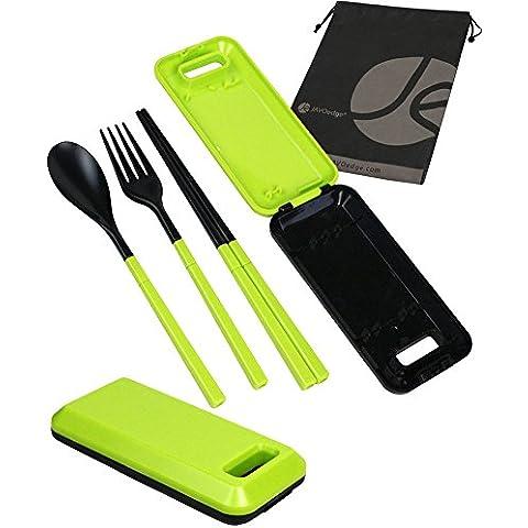 javoedge pieghevole compatto da viaggio Set di utensili con cucchiaio, forchetta, bacchette