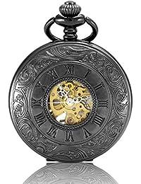Alienwork Retro Reloj mecánico de bolsillo esqueleto remonte grabado Metal negro negro W891-01