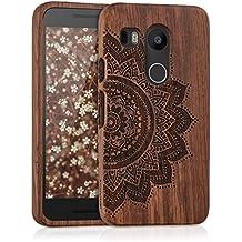 kwmobile Funda para LG Google Nexus 5X - Case protectora de madera palo de rosa - Carcasa dura Diseño Flor a la mitad en marrón oscuro