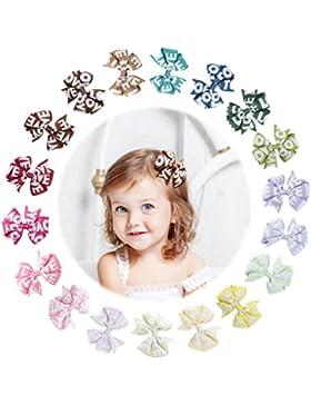 Yinson 18 Paquetes 3 Pulgadas Bebé Niñas Cinta Grosgrain Mini Gráfico Impreso Boutique Arcos del Pelo Clips Conjuntos...