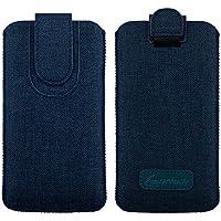 Emartbuy Oscuro Azul Premium Textured Tejido De La Diapositiva En La Funda De La Bolsa Caso Titular De La Cubierta ( Size 5XL ) Con El Mecanismo De La Lengüeta Del Tirón Conveniente Para Los Smartphones Enumerados Abajo