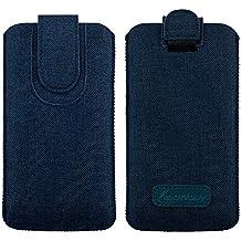 Emartbuy Scuro Blu Qualità Textured Tessuto Custodia Case Cover Sleeve ( Size 5XL ) con Linguetta Adatta per Smartphone Elencati Sotto