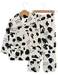 Flannel Niños pijama traje de baño suave Velvet Sleepwear Nightcloth