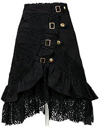 546d6e4b24 LHWY-Falda Falda Ajustados con Encaje Oficina Mujer Cintura Alto con  Volantes Color SóLido A-L