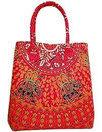 Silkgram Textile Soft & Light Weight Cotton Elephant Design Print Red Mandala Tote Bag | Shoulder Bag For Women