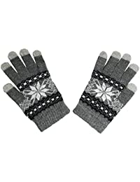 Angora Touch Screen Gloves With Knitted Detail