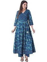 Khushal Women's Cotton Printed Designer Kurta With Palazzo Pant Set