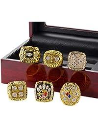 LANCHENEL Herren Europa und Amerikanische Super Bowl Pittsburgh Steelers 6 Jahre Set Meisterschaft Ringe