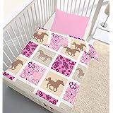 """'Franela Ropa de cama """"Dream bebé niña Horse Caballo & flores patrón de cuadros en rosa, color rosa–tamaño 40x 60+ 100x 135cm–Fabricado en Alemania"""
