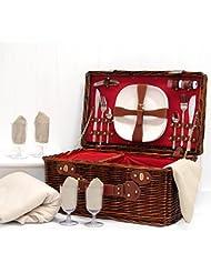 La Redgrave cesta de picnic y crema polar–manta de picnic Lujo bajera ajustable para 4personas mimbre oscuro con construido en compartimento enfriador y accesorios