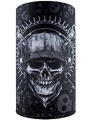HeadLOOP - Pañuelo multifunción color negro, calavera, microfibra