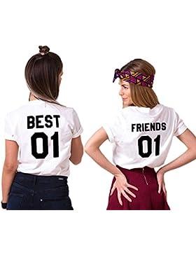 Mejores Amigas T-Shirt Best Friends Camiseta 2 Piezas Shirt 100% Algodón Verano con Manga Corta BFF Para Mujer...