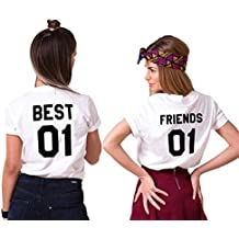 Mejores Amigas T-Shirt Best Friends Camiseta 2 Piezas Shirt 100% Algodón Verano con