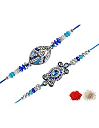 Chandrika Pearls Gems & Jewellers Crystal Studded Rakhi For Men - Set Of 2