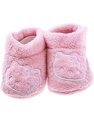 Chaussons polaires bébé fille tête de Hello kitty + noeud vieux rose 6/12mois