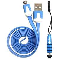 Emartbuy® Duo Pack Für Odys Neo Quad 10 Inch Tablet - Blau Metallic Mini Stylus + Blau Flach Anti-Tangle Micro Usb Sync Übertragen Von Daten Und Ladekabel