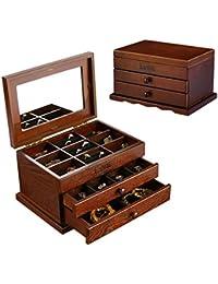 Caja de joyería de dos bombas Caja de joyería de madera de Ashblack de gran capacidad retro con espejo Caja de vestir Regalos de boda