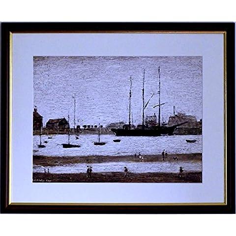 L S Lowry specialità Stampa/Picture–Rhyl Harbour–su una struttura in lino, misura media, Walnut Finish Frame With Soft White Mount And Large image, 20 x 16inch