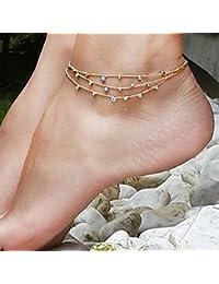 jovono Dangle tobillera Pulsera playa cadena de pie tobillera para las mujeres y las niñas