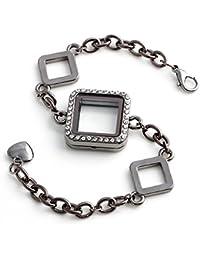 Bling étoiles en verre de forme carrée strass flottant charme Living mémoire Boîtes Ensemble bracelet