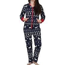 Pijamas de Navidad para Mujer, LILICAT Monos Ropa de dormir de Manga Larga con Estampado