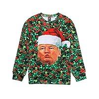 Ugly Christmas Sweater Style 3D Men Women Cat T-Rex Trump Pullover Sweatshirt Trump Large