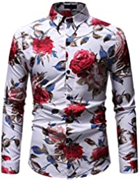 58861a9be7 Baoffs Camisa de Vestir Slim fit para Hombre Otoño e Invierno Casual de Gran  tamaño Camisa de los Hombres Personalidad…