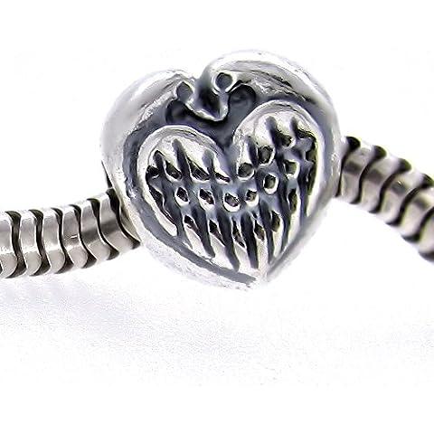 Argento Sterling 925Unique Eternal Love Birds Cuore Perline per braccialetti di design europeo