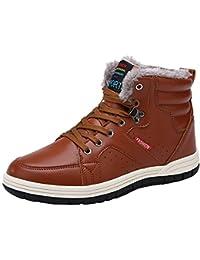 0b9a7966d005 wealsex Basket Montantes Homme PU Cuir Fourré Intérieur Chaud Chaussure  Sneakers Hiver Grand Taille ...