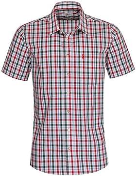 Almsach Kurzarm Trachtenhemd Benjamin Regular Fit zweifarbig in Rot und Dunkelgrün inklusive Volksfestfinder