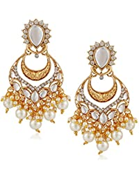 Meenaz Traditional Pearl Jewellery Gold Chandbali Jhumki Party Wear Stylish Jhumka Earrings For Women Girls Jewellery...