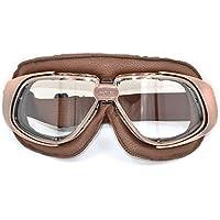CRG - Lunettes de protection de style aviateur pour 2 roues ou sports de glisse ou extrême - En similicuir