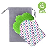 Teething Mitten voor Baby, Lommer Teething Mitten Soother Handschoenen Geluidend Mitten Teether Pijnverlichting Remedie voor pijnlijke tandvlees en snijtanden (FDA goedgekeurd BPA Free Food Grade Silicone) 7.5*10.5*2cm Groen