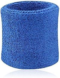 Hombres Mujeres Deportes Banda de sudor Tenis Squash Badminton tela de toalla muñeca bandas de sudor Baloncesto Gimnasio muñeca del Wraps Azul oscuro 8cm*7.5cm