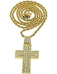 326608cd8bd8 KnSam Unisex Chapado en Oro Collares Colgantes Convex Cruz Oración de Jesús  Oro Plata Cristal