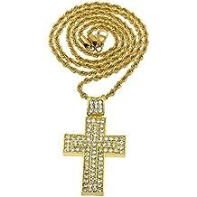 KnSam Unisex Chapado en Oro Collares Colgantes Convex Cruz Oración de Jesús Oro/Plata Cristal[Collar de Novedad]